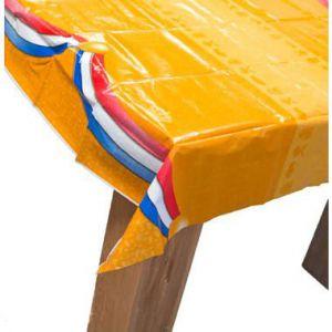 Afneembaar oranje tafelkleed 180x120 cm met Nederlandse vlag