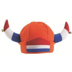 Oranje Vikinghoed met rood-wit-blauwe hoorns en Nederlandse vlag